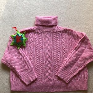 Marbled Pink Turtleneck Cropped Sweater